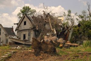 House struck by a tornado. Source: Wikimedia Commons