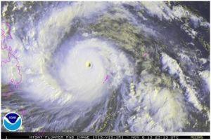 Typhoon Haiyan is pictured in this NOAA satellite handout image taken November 6, 2013 at 23:13 UTC
