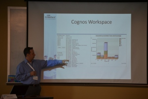 Phillip Lucas, Dmitri global product manager for Crawford RSG, goes over Cognos Workspace information during a recent RSG Client Roundtable.