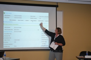 Susan McPhail, manager of client services, Crawford RSG, presents during RSG's Client Roundtable in Charlotte, NC.
