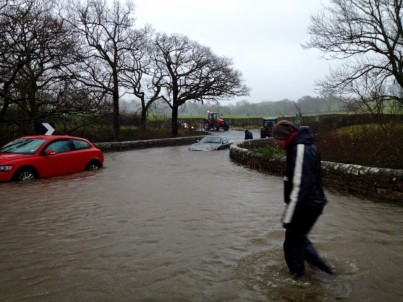Storm Desmond causes flooding in the Cumbria area.